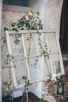 Wedding table assignments on an antique window - Hochzeit Wedding Table Assignments, Wedding Reception Seating, Seating Chart Wedding, Wedding Table Settings, Wedding Table Numbers, Seating Charts, Table Wedding, Rustic Wedding, Wedding Window