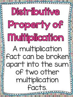 This pack comes with: Definition Poster Example Poster Let's Match game Draw It game. Math Properties, Properties Of Multiplication, Multiplication Activities, Math Activities, Sixth Grade Math, Fourth Grade Math, Ninth Grade, Seventh Grade, Distributive Property Of Multiplication