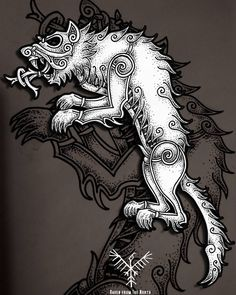 Fenrisúlfr #drawing #sketch #sketching #doodle #illustration #engraving #linework #dotwork #black #ink #pen #pencil #pseudo #viking #celtic #style #wolf #dog #fenrir #loki #god #norse #mythology #tattoo #tattoodesign #norsetattoo #czech...