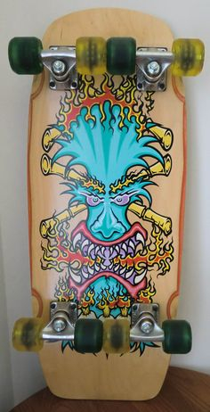 Bulldog Skates tiki 8-wheeler skateboard. Made by Wes Humpston. Fun Deck