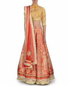 Monarch Orange Lengha with Gota Work - Shyam Narayan Prasad - Designers