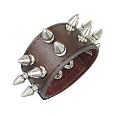 Bracelet cuir à pointes coniques
