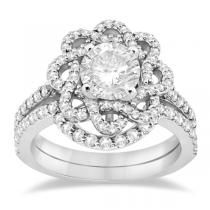 Diamond Flower Engagement Ring and Wedding Band 14k White Gold (0.84ct)