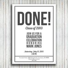 Graduation Party Printable Invitation. $10.00, via Etsy.