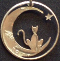 Cat In The Moon Hand Cut Coin Jewelry by bongobeads on Etsy, $14.95