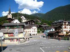 Fiesch, Switzerland- Bahnhofstrasse am Fieschertalstrasse (links) und ...