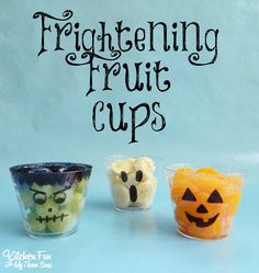 Halloween Fruit Cups...perfect for class parties at school!  KitchenFunWithMy3Sons.com