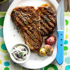 A sauce of mayonnaise, olive, dill, and garlic adds a subtle flavor to this grilled porterhouse steak main-dish recipe./
