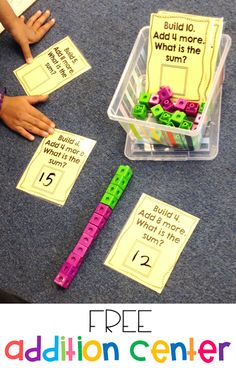 Susan Jones Teaching: More Math Stations and an Addition Freebie! Free addition activity for kindergarten or first grade! Students must build the first number and then add on the second number to show their addition. Such a great hands on addition center! Kindergarten Activities, Teaching Math, Kindergarten Addition, Kindness Activities, Teaching Numbers, Space Activities, Primary Teaching, Math Intervention, Second Grade Math