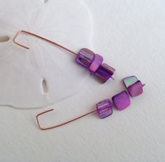 Hot pink shell earrings copper earrings organic by BrandonArtists, $16.00