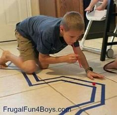 Tape a maze and have the kiddos blow a pom pom with a straw. If they go outside the lines they have to start over