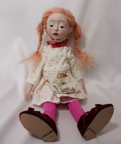 """PIPPI LONGSTOCKING""10.2"" BISQUE HANDMADE DOLL WITH  RED HAIR BY WOOL"