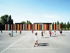 At nearly 80,000 square feet, the Oslo International School is one of Jarmund/Vigsnæs's larger projects. Situated just outside Oslo, the school was recently renovated, with some 40,000 square feet of new construction. The colored panels suggest a sunny optimism, something the architects hoped to imbue in an educational context. Photo by Ivan Brodey.  Photo by: Pia Ulin      Read more: http://www.dwell.com/slideshows/fjord-focus.html?slide=1=y=true#ixzz2DZDOZZRZ