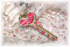 Vintage Hand Painted Key Pendant Red Roses by TheVintageHeart