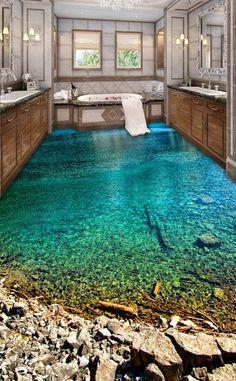 Floor Wallpaper, Painting Wallpaper, Wallpaper Murals, Pintura Wallpaper, Custom Wallpaper, Dream Bathrooms, Dream Rooms, Rustic Bathrooms, 3d Floor Painting
