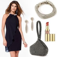 "Dress, bracelet, bag and earrings by Caché. Lipstick by YSL  in ""Rouge Volupté Shine"" #HeadToToeThursday"