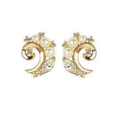 1960s Vintage Trifari Faux Pearl Swirl Earrings
