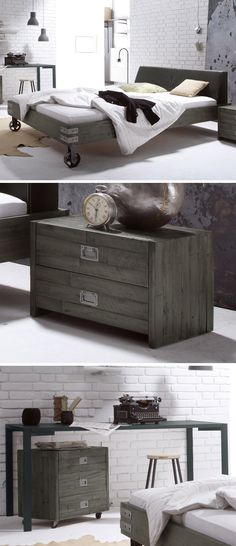bett salo industrial style industrial and modern. Black Bedroom Furniture Sets. Home Design Ideas