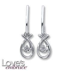 Loves Embrace Earrings 1/20 ct tw Diamonds Sterling Silver