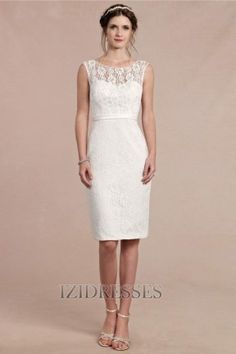 Sheath/Column Scoop Lace Wedding Dress - IZIDRESSES.com  can be full length