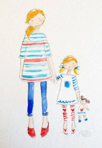 Image of RED, WHITE & BLUE - ORIGINAL WATERCOLOR - Sophie & Lili