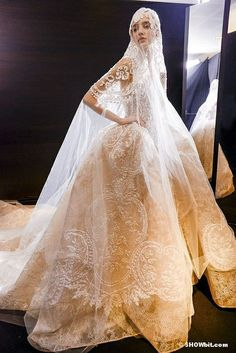 Elie Saab Couture Bridal Ball Gown & Incredible Veil