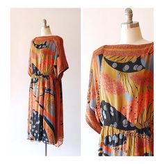 vintage 1970s Judith Ann Indian silk dress / size large extra