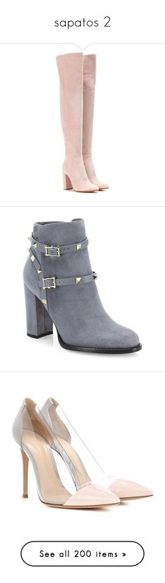 """""""sapatos 2"""" by emilygabrieledantas on Polyvore featuring shoes, boots, zapatos, botas, heels, pink, thigh boots, thigh-high suede boots, gianvito rossi boots e above the knee boots"""