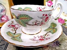 AYNSLEY TEA CUP AND SAUCER FLORAL & LEAVES OBAN SHAPE TEACUP PATTERN