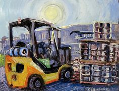"""Forklift and Beer Kegs at a Brewery Art Print - 9"""" x 7"""""""