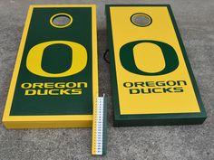 Oregon Ducks cornhole boards www.CAcornhole.com Awesome boards!