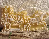 Natural Beeswax SLEIGH RIDE Springerle German Mold Christmas Cookie Ornament Primitive Folk Art Shabby Chic European Art