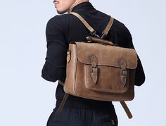 Mens Leather Backpack Business bag Leather messenger bag Leather Murse for Electronic Gadget & Bicycle Bags (G90)