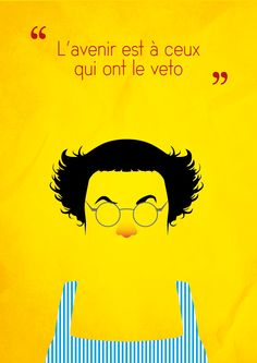 Minimalist poster of Coluche by Ugo Bouveron #minimalism #poster
