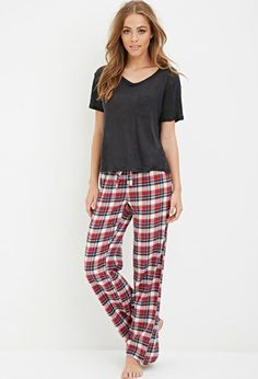$15.90 Tartan Plaid PJ Pants | Forever 21 - 2000157516