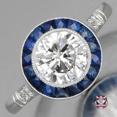 Art Deco Engagement Ring - Certified D/SI Diamond Sapphires