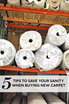 Want to get new carpet? These 5 tips will help you save your sanity when looking to buy new carpet! Cheap Carpet, New Carpet, Modern Carpet, Wall Carpet, Bedroom Carpet, Carpet Flooring, Buy Furniture Online, Furniture Sale, Carpet Installation