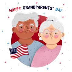 Grandparents Day Cards, National Grandparents Day, Couple Illustration, Bedtime Stories, Cute Characters, School Stuff, Hand Drawn, Fairy Tales, Vector Free