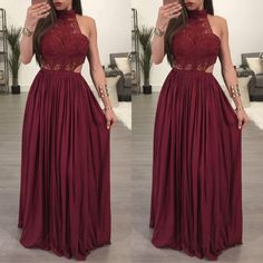 """""""Be sexy and confident in this very fashionable halter maxi dress."""" #lacemaxidress #haltermaxidress"""