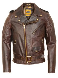 Schott N.Y.C. - 619 Hand Oiled Lightweight Naked Brown Perfecto Motorcycle Jacket with Plaid Cotton Lining