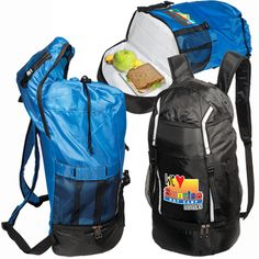 LT-3032 Hiker's Cooler Daypack. 210d drawstring backpack. Dual zippered lower cooler with PVEA lining and foam insulation. Internal zippered pocket and open pocket. Latch locking hood with adjustable straps over main compartment. Elastic mesh side pockets and adjustable padded shoulder straps.