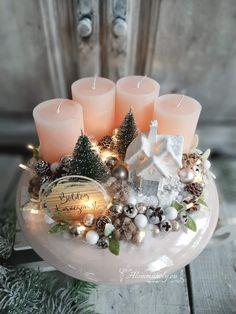 Christmas Party Centerpieces, Christmas Arrangements, Christmas Decorations, Christmas Advent Wreath, Christmas Holidays, Christmas Projects, Christmas Crafts, Couronne Diy, Festival Decorations