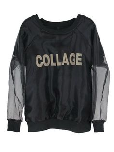 Collage Print T-shirt Black With Organza Outer $47.99