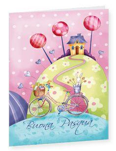 Biglietto Buona Pasqua illustrato in stile Naif - Easter greeting card