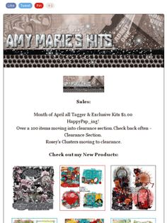 "Ad:$1.00 Sale,New Kits ""Pretty Linda"" & ""80's Play"",7 New Cluster Packs,& Free Gifts from Amy Marie Kits Store! http://mad.ly/f8ca74"