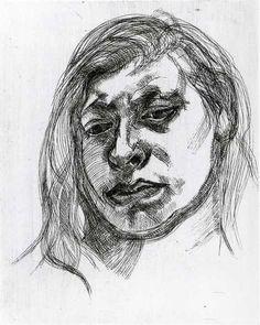 Lucian Freud, Head of a Girl II, 1982