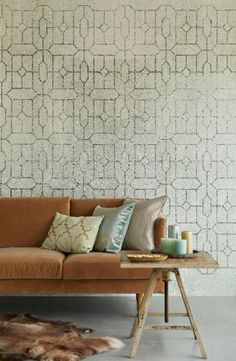 Restrained and chic, refined yet rugged. Make a statement in your interior with Stature. Trellis Wallpaper, Pattern Wallpaper, Wall Of Fame, Trellis Pattern, Inspirational Wallpapers, Inspiration Wall, Cozy Living Rooms, Wall Design, Love Seat