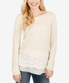 Lucky Brand Lace-Trim Sweater $44.98 Elevate your casual style with this lace-detail sweater from Lucky Brand.