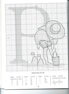 Schema punto croce Alfabeto Bimbi P