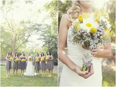 Love the use of yellow and gray in the bouquet!